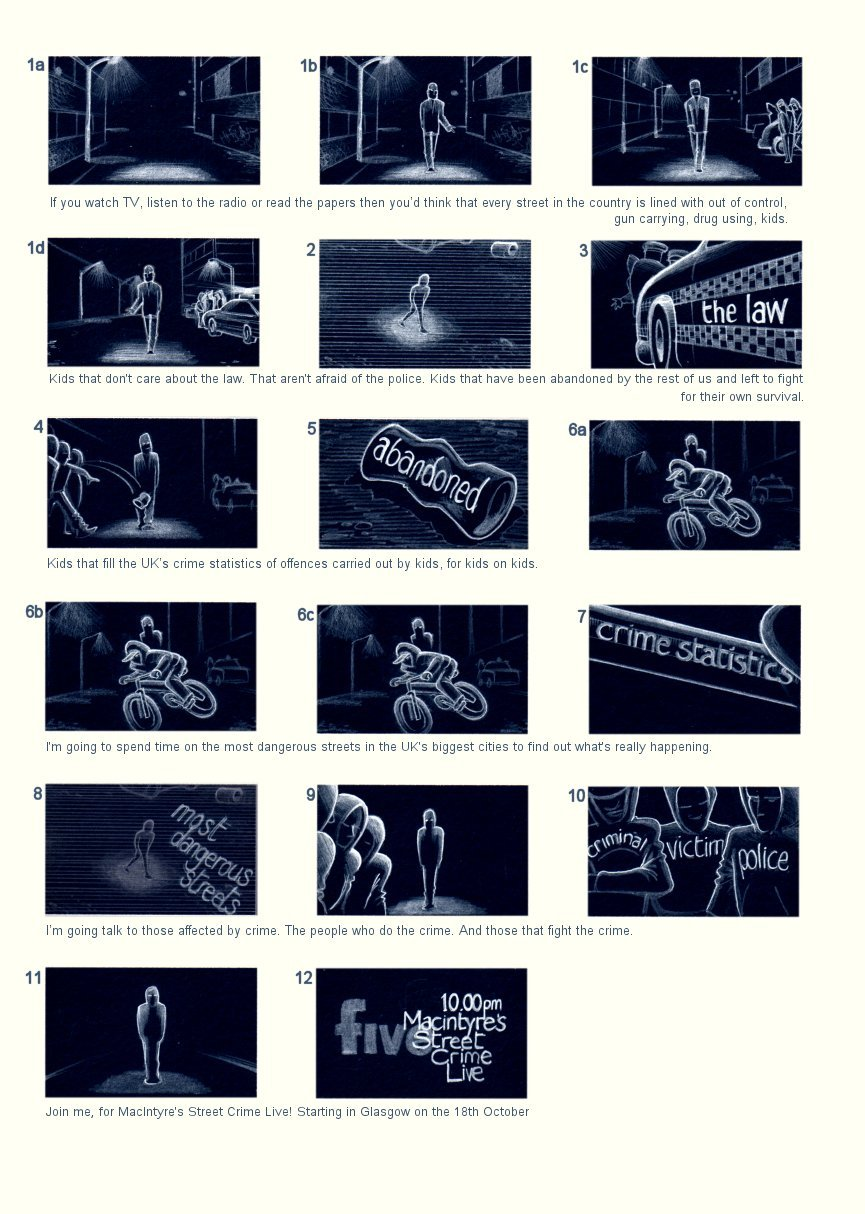 CHANNEL 5 'STREETCRIME LIVE' STORYBOARD BY ANDY SPARROW