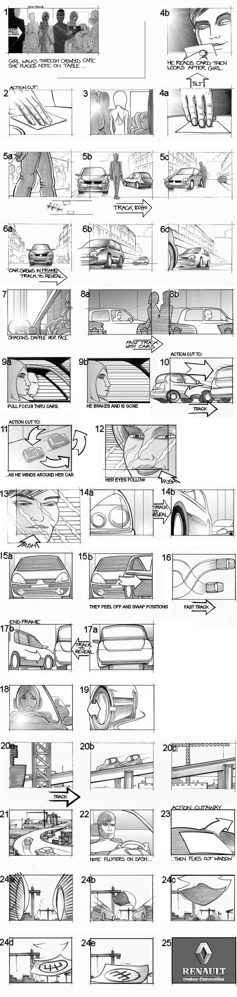 RENAULT CLIO STORYBOARDS BY ANDY SPARROW