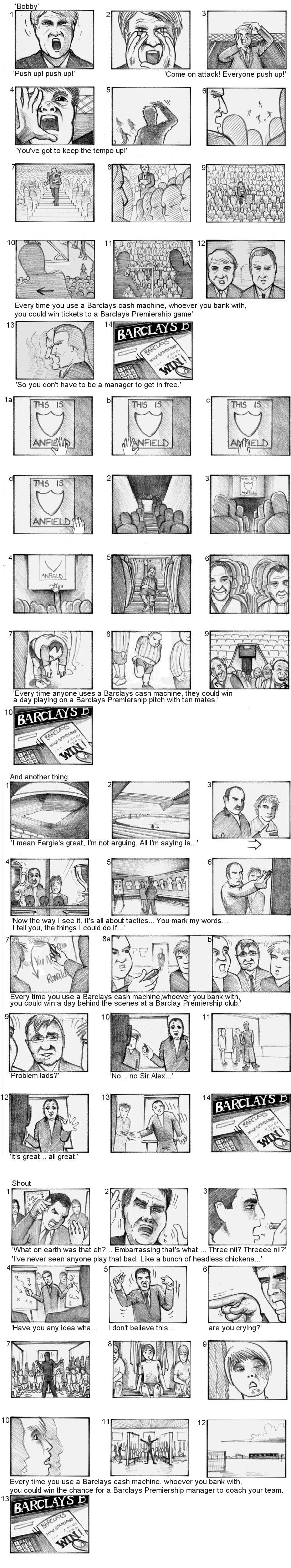 BARCLAYS PREMIERSHIP STORYBOARDS BY ANDY SPARROW
