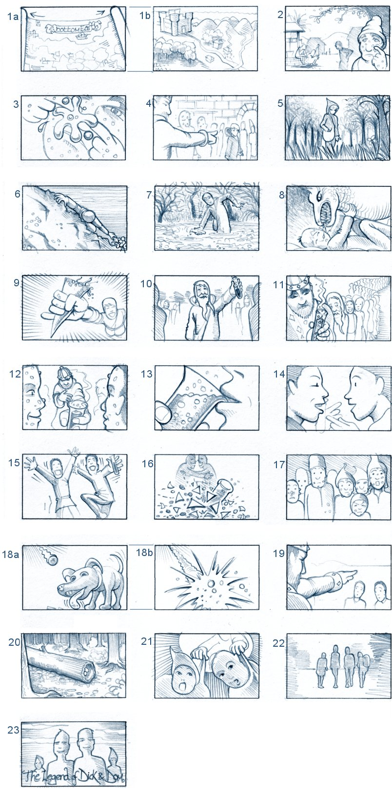DICK & DOM'S OPENING SEQUENCE STORYBOARD BY ANDY SPARROW