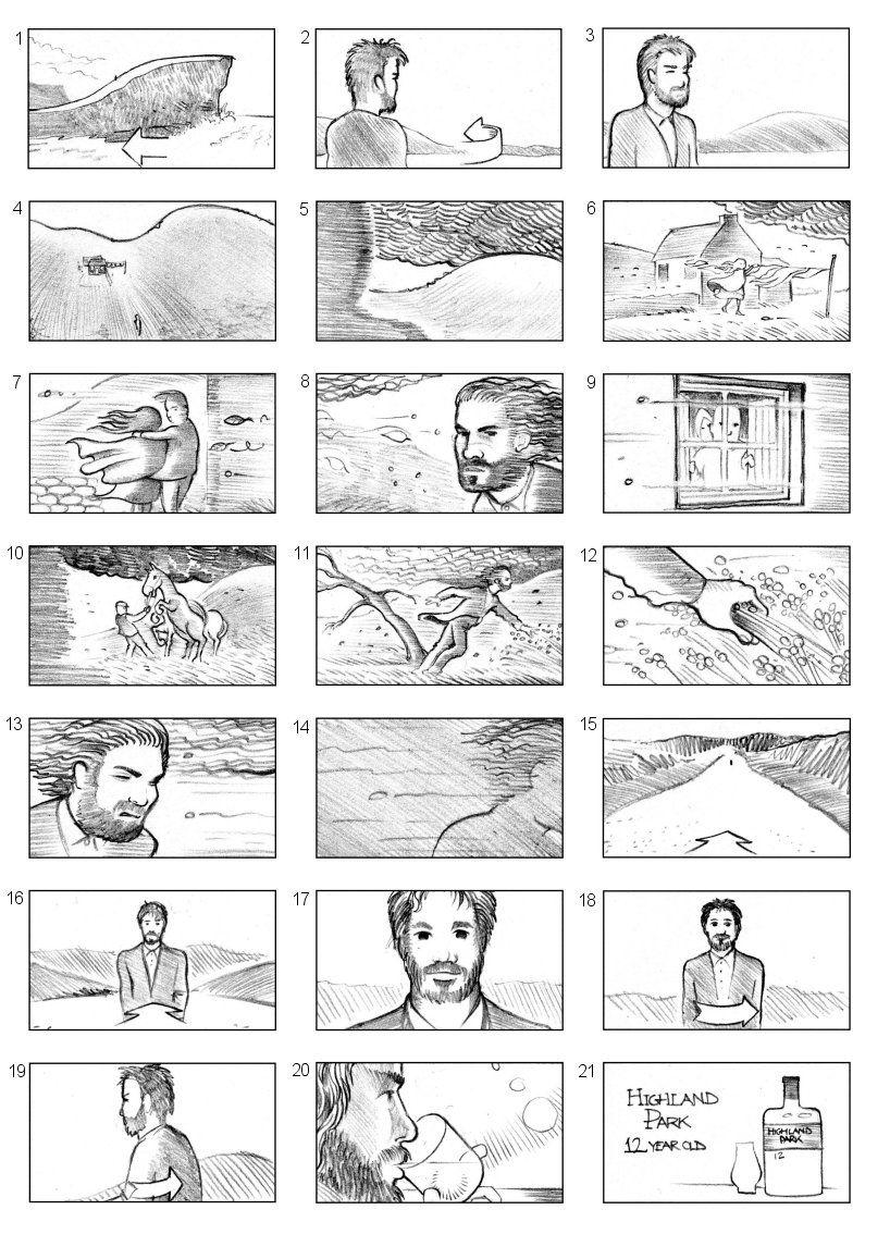 HIGHLAND PARK WHISKEY STORYBOARD BY ANDY SPARROW