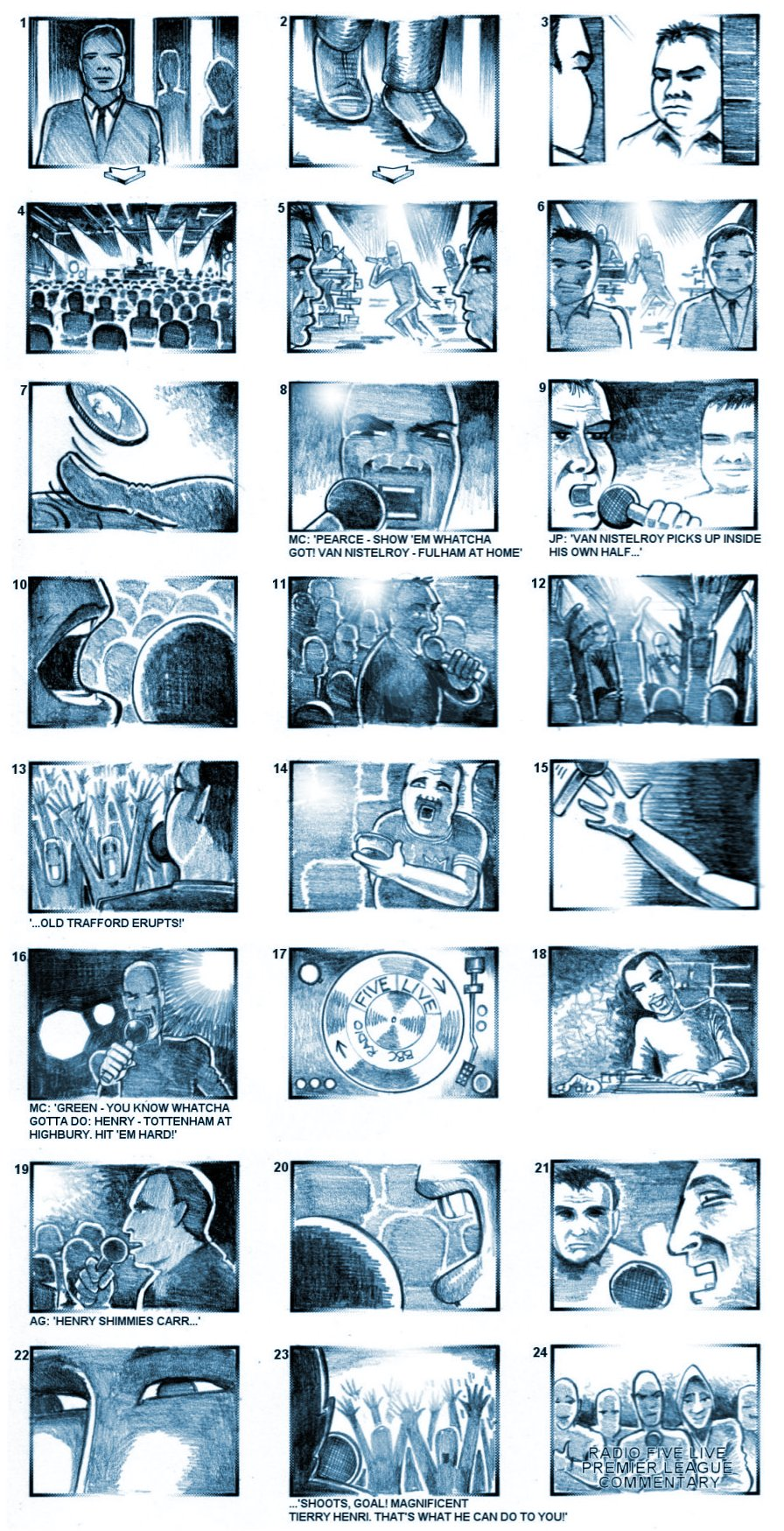 RADIO 5 LIVE COMMENTARY STORYBOARDS BY ANDY SPARROW
