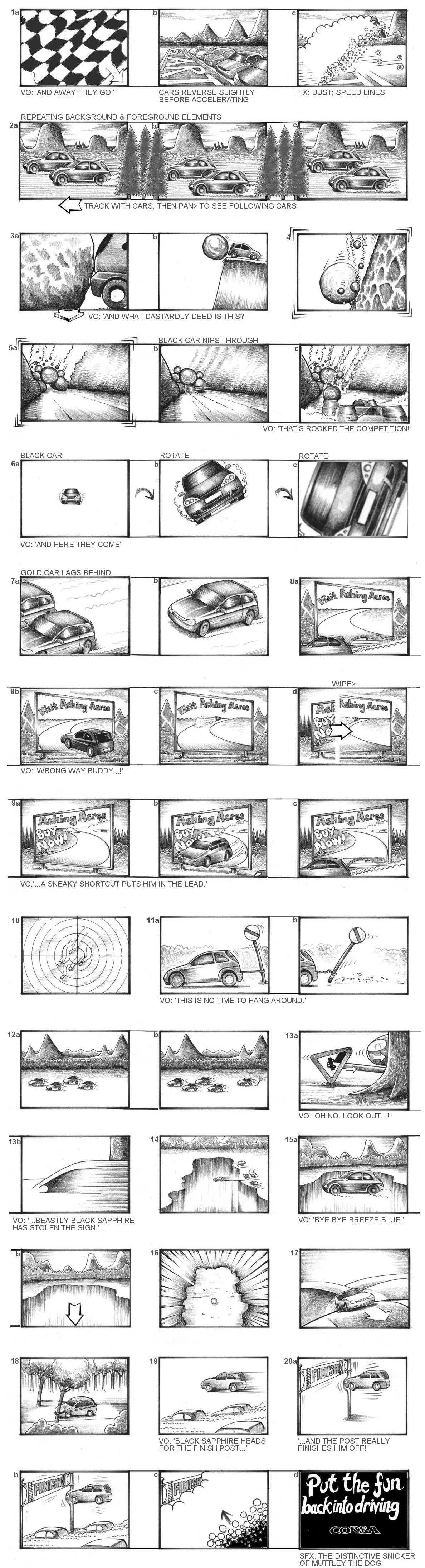 VAUXHALL CORSA 'WACKY RACES' STORYBOARDS BY ANDY SPARROW