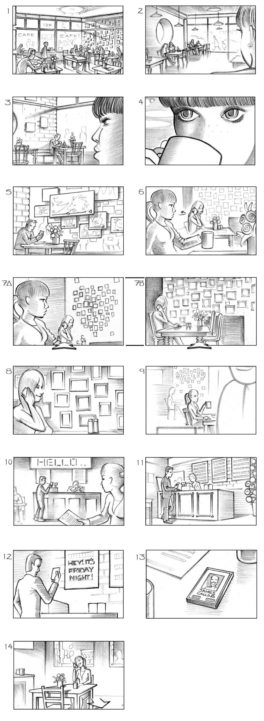 VODAFONE 'CAFE' STORYBOARD BY ANDY SPARROW